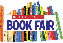 shelf of books with the words scholastic book fair in front