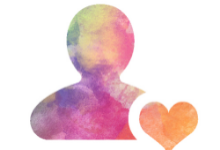 rainbow-colored silhouette of a person next to a heart