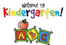 """words """"Welcome to Kindergarten!"""" apple and ABC blocks below words"""