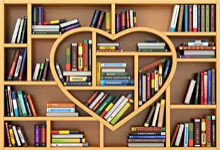 library shelved with books shaped as a heart
