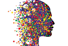 colorful silhouette of a person's head