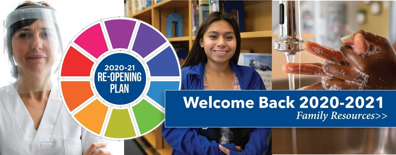 Welcome back banner with image of adult with face mask, student by book shelf, and person washing their hands.