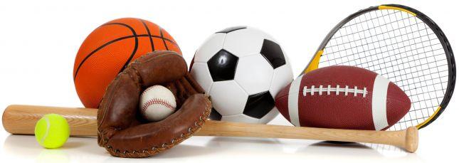 Photo of bat, baseball, basketball, mitt, soccer ball, racket, and football